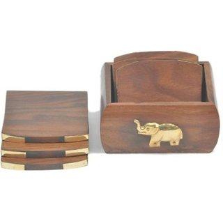 Triple S Handicrafts Wooden Square coaster set