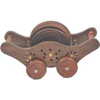 Triple S Handicrafts Wooden Round Coaster set with 2 wheels holder
