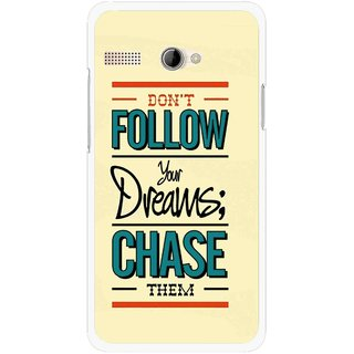 Snooky Printed Chase The Dreams Mobile Back Cover For Intex Aqua 3G Pro - Yellow