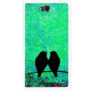 Snooky Printed Love Birds Mobile Back Cover For Sony Xperia C - Multicolour
