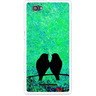 Snooky Printed Love Birds Mobile Back Cover For Sony Xperia M - Multicolour