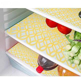 Kuber Industries Refrigerator Drawer Mat / Fridge Mat Set Of 6 Pcs (Yellow)