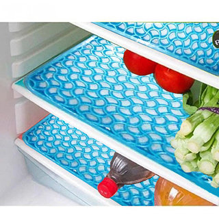 Kuber Industries Refrigerator Drawer Mat / Fridge Mat In Thick Material Set Of 6 Pcs  Sky Blue