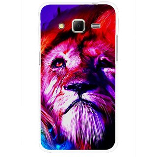 Snooky Printed Freaky Lion Mobile Back Cover For Samsung Galaxy Core Prime - Multi