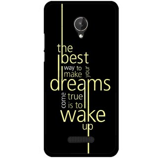 Snooky Printed Wake up for Dream Mobile Back Cover For Micromax Canvas Spark Q380 - Black