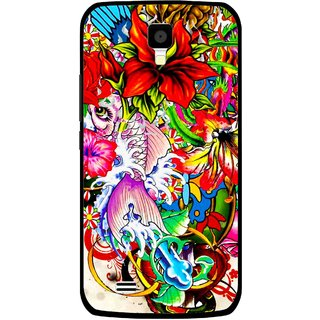 Snooky Printed Horny Flowers Mobile Back Cover For Gionee Pioneer P2S - Multicolour