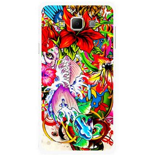 Snooky Printed Horny Flowers Mobile Back Cover For Samsung Galaxy E5 - Multicolour