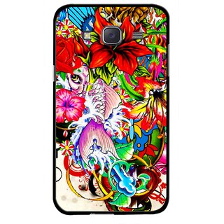 Snooky Printed Horny Flowers Mobile Back Cover For Samsung Galaxy J7 - Multicolour