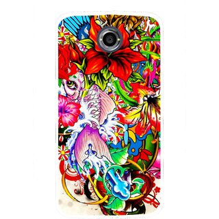 Snooky Printed Horny Flowers Mobile Back Cover For Motorola Nexus 6 - Multicolour