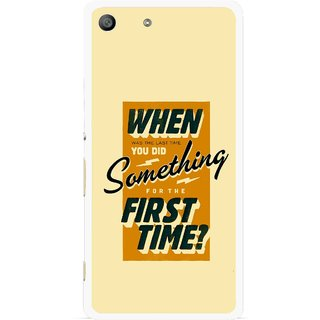 Snooky Printed First Time you Did Mobile Back Cover For Sony Xperia M5 - Yellow