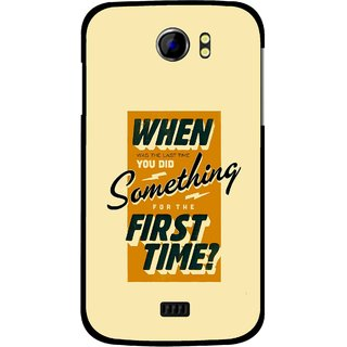 Snooky Printed First Time you Did Mobile Back Cover For Micromax Canvas 2 A110 - Yellow