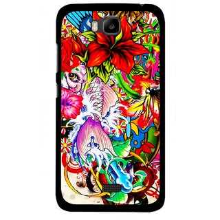 Snooky Printed Horny Flowers Mobile Back Cover For Huawei Honor Bee - Multicolour