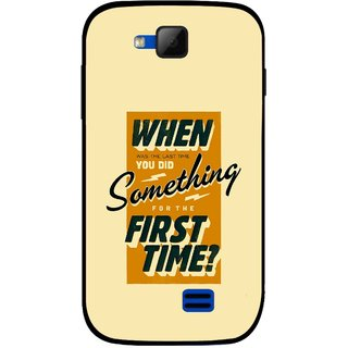 Snooky Printed First Time you Did Mobile Back Cover For Micromax Canvas Fun A63 - Yellow