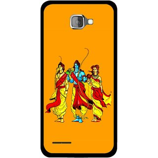 Snooky Printed God Rama Mobile Back Cover For Micromax Canvas Mad A94 - Orrange