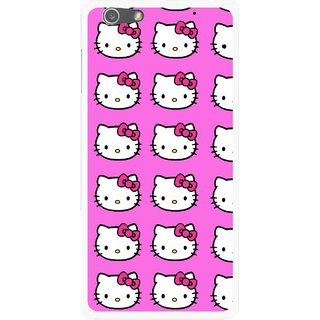 Snooky Printed Pink Kitty Mobile Back Cover For Oppo R1 - Multi