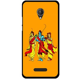Snooky Printed God Rama Mobile Back Cover For Micromax Canvas Spark Q380 - Orrange
