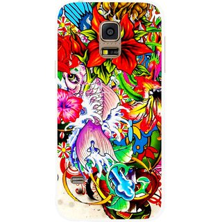 Snooky Printed Horny Flowers Mobile Back Cover For Samsung Galaxy S5 Mini - Multicolour