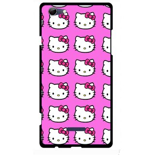 Snooky Printed Pink Kitty Mobile Back Cover For Micromax Canvas Selfie 3 Q348 - Multi