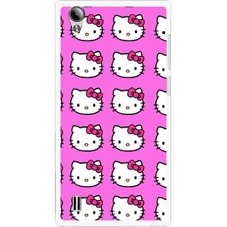 Snooky Printed Pink Kitty Mobile Back Cover For Vivo Y15 - Multi