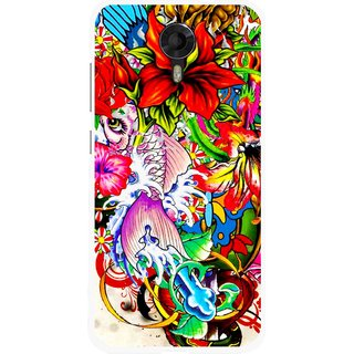 Snooky Printed Horny Flowers Mobile Back Cover For Micromax Canvas Xpress 2 E313 - Multicolour