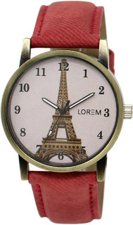 RJL Round Dial Red Strap Watches