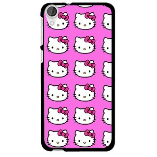 Snooky Printed Pink Kitty Mobile Back Cover For HTC Desire 820 - Multi