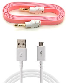 Combo of Data Cable and Aux Cable (Assorted Colors)