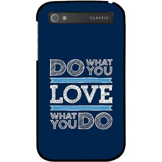 Snooky Printed Love Your Work Mobile Back Cover For Blackberry Classic - Blue