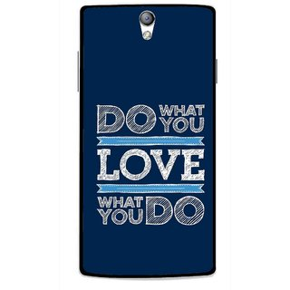Snooky Printed Love Your Work Mobile Back Cover For Oppo Find 5 Mini - Blue