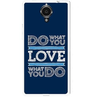 Snooky Printed Love Your Work Mobile Back Cover For Gionee Elife E7 - Blue