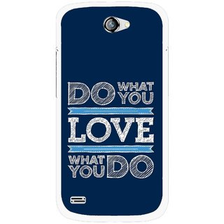 Snooky Printed Love Your Work Mobile Back Cover For Gionee Pioneer P3 - Blue