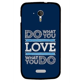 Snooky Printed Love Your Work Mobile Back Cover For Micromax A116 - Blue