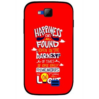 Snooky Printed Happiness Is Every Where Mobile Back Cover For Micromax Canvas Fun A63 - Red