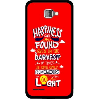 Snooky Printed Happiness Is Every Where Mobile Back Cover For Micromax Canvas Mad A94 - Red
