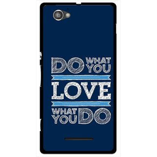 Snooky Printed Love Your Work Mobile Back Cover For Sony Xperia M - Blue