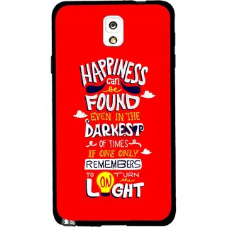 Snooky Printed Happiness Is Every Where Mobile Back Cover For Samsung Galaxy Note 3 - Red