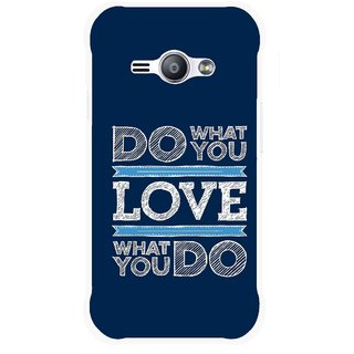 Snooky Printed Love Your Work Mobile Back Cover For Samsung Galaxy Ace J1 - Blue