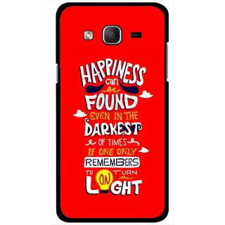 Snooky Printed Happiness Is Every Where Mobile Back Cover For Samsung Galaxy On5 - Red