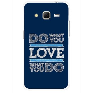 Snooky Printed Love Your Work Mobile Back Cover For Samsung Galaxy Core Prime - Blue