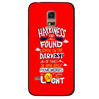 Snooky Printed Happiness Is Every Where Mobile Back Cover For Samsung Galaxy S5 Mini - Red
