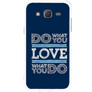 Snooky Printed Love Your Work Mobile Back Cover For Samsung Galaxy J5 - Blue