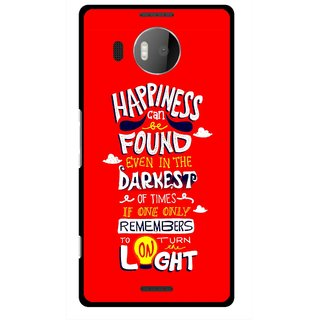 Snooky Printed Happiness Is Every Where Mobile Back Cover For Microsoft Lumia 950 XL - Red