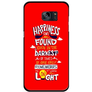 Snooky Printed Happiness Is Every Where Mobile Back Cover For Samsung Galaxy S7 - Red