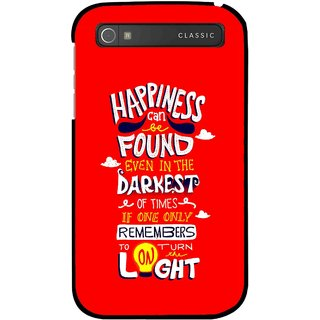 Snooky Printed Happiness Is Every Where Mobile Back Cover For Blackberry Classic - Red