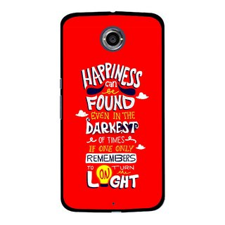 Snooky Printed Happiness Is Every Where Mobile Back Cover For Motorola Nexus 6 - Red
