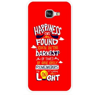 Snooky Printed Happiness Is Every Where Mobile Back Cover For Samsung Galaxy A7 2016 - Red