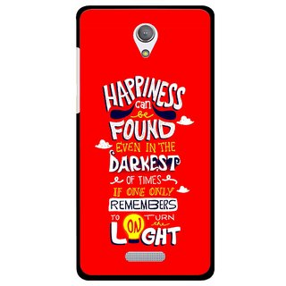 Snooky Printed Happiness Is Every Where Mobile Back Cover For Gionee Marathon M4 - Red