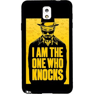 Snooky Printed Who Knocks Mobile Back Cover For Samsung Galaxy Note 3 - Black