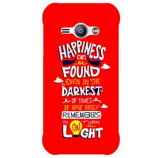 Snooky Printed Happiness Is Every Where Mobile Back Cover For Samsung Galaxy Ace J1 - Red