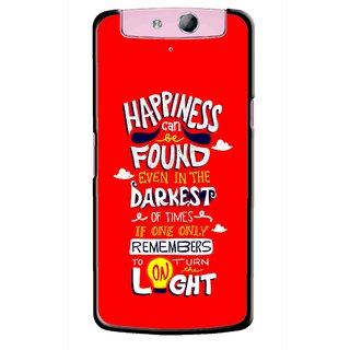 Snooky Printed Happiness Is Every Where Mobile Back Cover For Oppo N1 Mini - Red